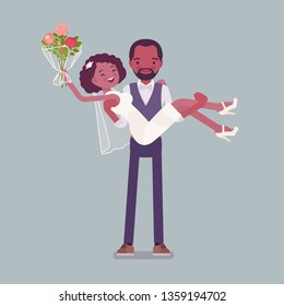 Groom carrying bride on wedding ceremony. African american man, woman in beautiful white dress on traditional celebration, married couple in love. Marriage customs and traditions. Vector illustration
