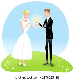 Groom presenting wedding ring to his bride (vector illustration)