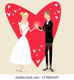 Groom in suit presenting precious ring to his bride in wedding dress, background with heart shapes (vector illustration)