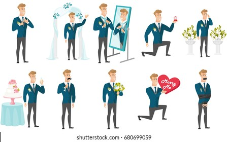 Groom and wedding scenes set. Young caucasian groom making proposal with a ring, holding fake moustache, saying a toast, kneeling. Set of vector flat design illustrations isolated on white background.