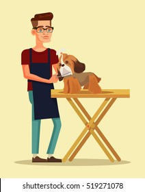Groomer character combs cute dog character. Vector flat cartoon illustration