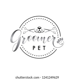 Groomer logo for grooming pet shop company vector icon label logo illustration