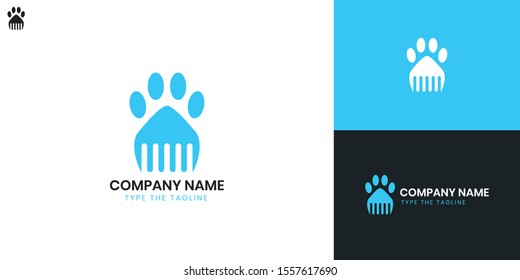 Grooming pets logo - All elements on this template are editable with vector software.