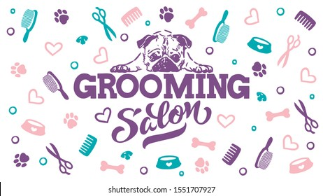 Grooming Salon - logo for dog hair salon, dog styling and grooming shop, store for pets. Vector illustration isolated on white background. EPS 10