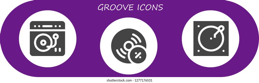 groove icon set. 3 filled groove icons. Simple modern icons about  - Turntable, Vynil
