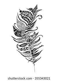Groovy Feather - Illustration of a fancy patterned feather.
