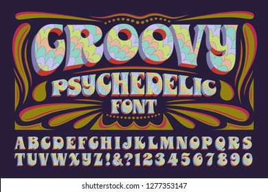 A groovy hippie style psychedelic alphabet. This 1960s style font has multicolored pastel hues and 3d effects.
