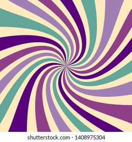 Groovy retro sunburst pattern in gorgeous shades of purple pink and blue green on a light background. Spiral lines or rays swirl and twirl in a classic nostalgic vintage design. Old starburst vector