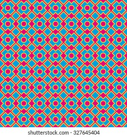 Groovy seamless geometric pattern. Geometric blue shapes with yellow outlines on pink background.