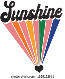 Groovy Themed Sunshine Slogan Print with Rainbow Background - 70's Hippie Style Colorful Hand Drawn Vector Pattern - Hippy Sticker