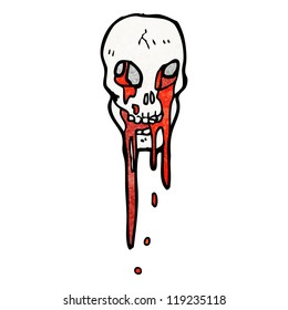 gross blood dripping skull cartoon