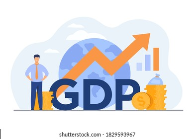 Gross domestic product concept. Growth arrow chart with globe, stacks of money, happy tiny professional. Flat illustration for national economy, monetary policy, global finance topics