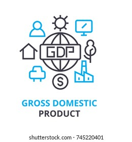 gross domestic product concept , outline icon, linear sign, thin line pictogram, logo, flat illustration, vector