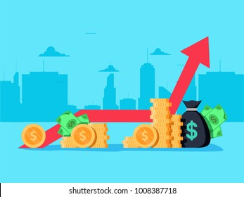 Gross domestic product. Economic growth concept. Graph and rows of coins for finance. Vector illustration of business profit success, financial results and banking earnings revenue.