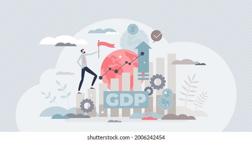 Gross domestic product or GDP as country financial rating tiny person concept. Macroeconomic term for potential national budget earnings vector illustration. Growing annual export incomes and profit.