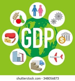 Gross Domestic Product (GDP), and various industry and service, image icon and illustration