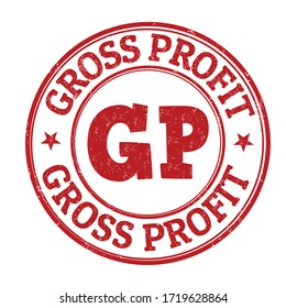 Gross profit sign or stamp on white background, vector illustration