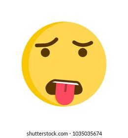 Grossed out emoticon. Vector smiley. Emoji icon