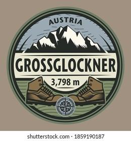 The Grossglockner - the highest mountain in Austria and the highest mountain in the Alps east of the Brenner Pass, vector illustration