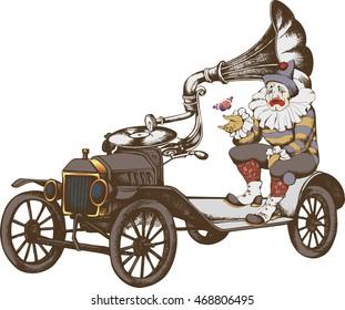 Grotesque steampunk car and sad clown. Vector illustration