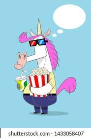 The grouchy unicorn having fun at the movies