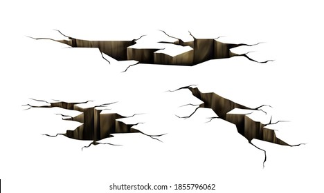 Ground cracks, earthquake cracking holes, ruined land surface crushed texture. Destruction, split, damage fissure effect after disaster isolated on white background. Realistic 3d vector illustration