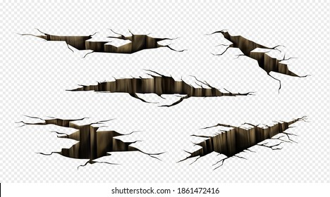 Ground cracks, fractures on land surface, earthquake breaks in perspective view. Vector realistic set of fissure in ground, crevices from disaster or drought isolated on transparent background