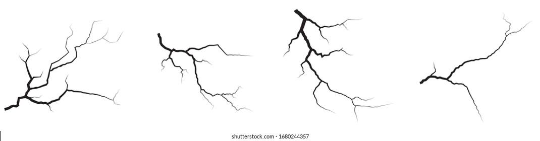 Ground cracks set. Earthquake and ground cracks, hole effect, craquelure and damaged wall texture. Vector illustrations can be used for topics earthquake, crash, destruction