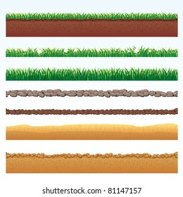 Ground Cutaway, Desert and Grass Elements, Vector Illustrations