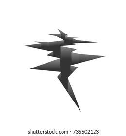 ground earthquake crack. Vector illustration isolated on white background