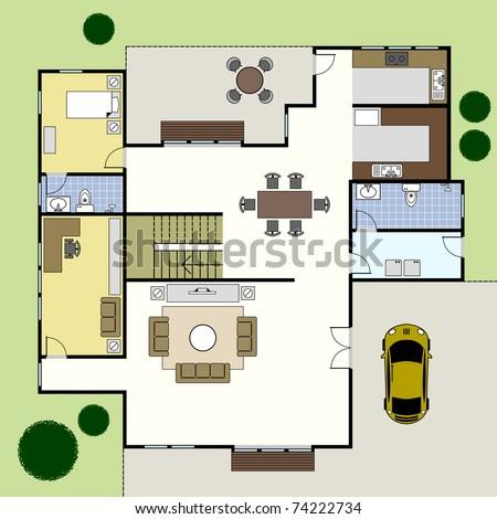 Ground Floor Plan Floorplan House Home Building Architecture Blueprint  Layout
