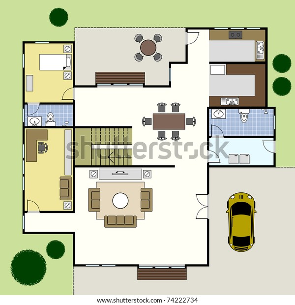 Ground Floor Plan Floorplan House Home Stock Vector Royalty