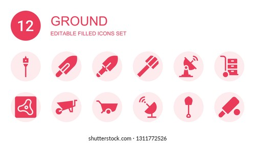 ground icon set. Collection of 12 filled ground icons included Auger, Shovel, Satellite dish, Air, Wheelbarrow, Cricket
