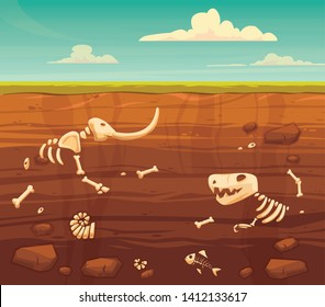 Ground layers with bones. Buried fossil animals, dinosaur, mammot, fish skeleton bone and shellfish.Vector flat style cartoon illustration