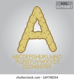 Ground Soil Alphabet and Numbers Vector