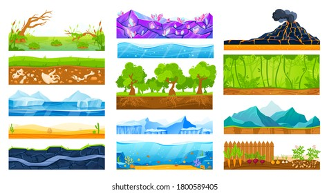 Ground surface landscape vector illustration set. Cartoon flat soil land layers diagram collection with green grass or tree roots in layered mud, sea water and desert sand, geology isolated on white