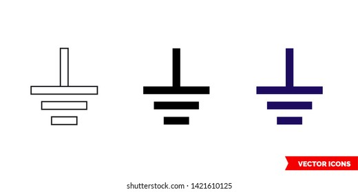 Ground symbol icon of 3 types: color, black and white, outline. Isolated vector sign symbol.