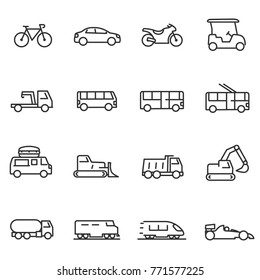 Ground transportation icons set, linear design. Line with Editable stroke