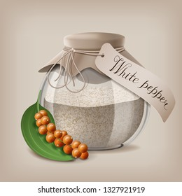 Ground white pepper in a glass jar with a branch of fruit pepper. Vector illustration