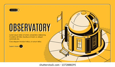 Ground-based observatory for astronomical observations isometric vector web banner, landing page template. Science institution building equipped by telescope under sliding dome line art illustration