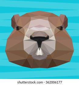 groundhog abstract icon isolated polygonal card