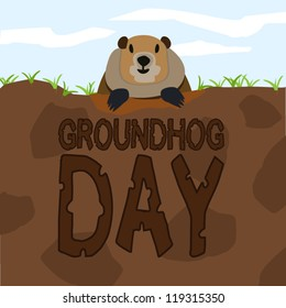 Groundhog come out from the land to greet on Groundhog Day