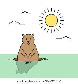 Groundhog Day Animal Wake Up Spring Holiday Flat Vector Illustration