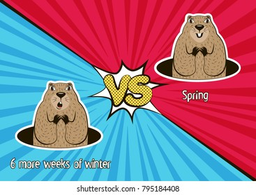 Groundhog Day card. Winter vs. Spring. Funny marmot weather forecasters in the cartoon style. Vector illustration.