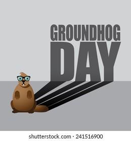 Groundhog Day design. EPS 10 vector stock illustration.