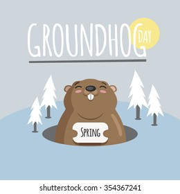 Groundhog day, february 2, cute vintage card