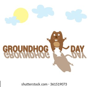 Groundhog Day. Funny animal with shadow drawing in cartoon style isolated on white background. Vector illustration
