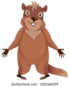 Groundhog Day. Funny groundhog spread his hands to sides. Isolated on white vector cartoon illustration