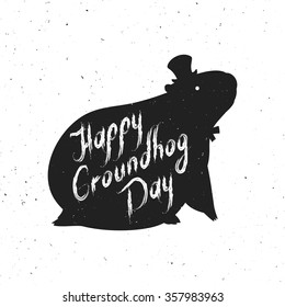 Groundhog day poster images stock photos vectors shutterstock groundhog day greeting card hand written lettering on vintage grunge background groundhog day m4hsunfo