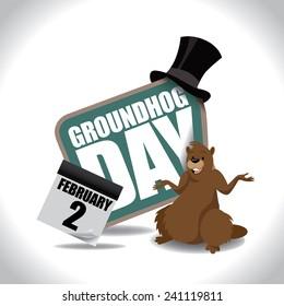 Groundhog Day icon EPS 10 vector stock illustration